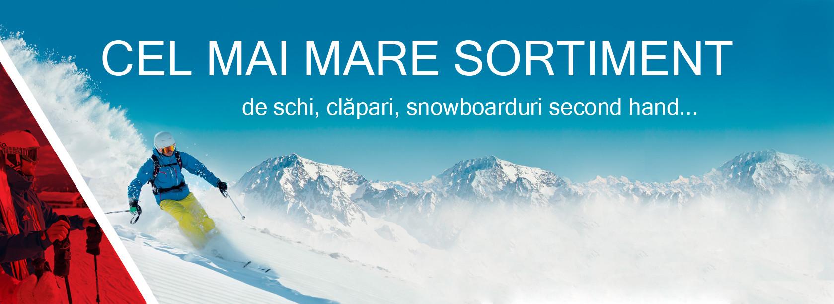 de schi, clapari, snowboarduri de mana a doua